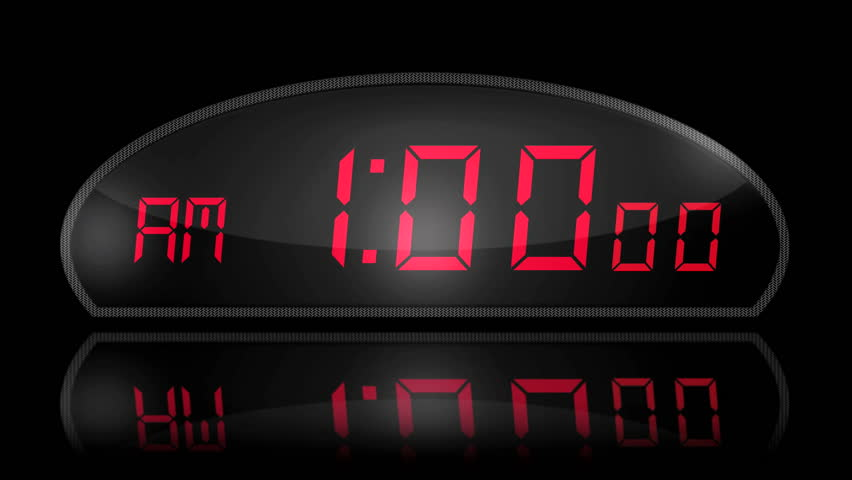 Digital Clock passing through 24 hours in 12 seconds. Reflected on Black Glass | Shutterstock HD Video #917581