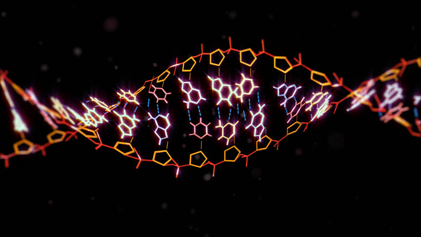 3D Background With Rotating Dna String 4K. ultra HD. Alpha Channel. DNA technology helix strands science technology animated background