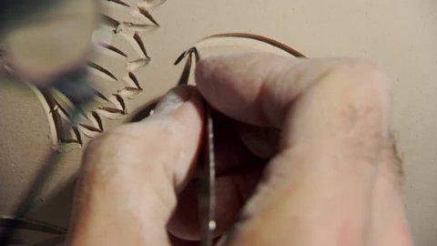 Sculptor Master Sculpt Pattern on Ceramic Vase