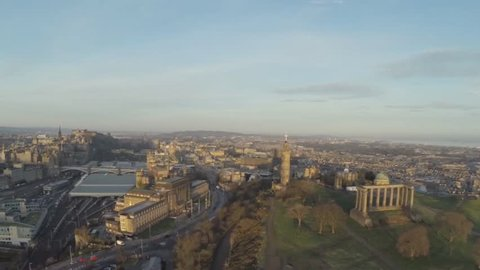 Aerial shot over Calton Hill in Edinburgh, Scotland. Makes the perfect establishing shot to Edinburgh