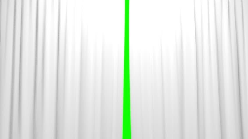 White Curtains opening and closing stage theater cinema green screen