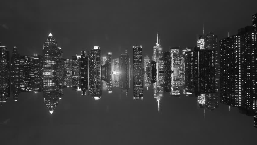 Black and white background of cityscape skyline panorama at night light shutterstock hd video