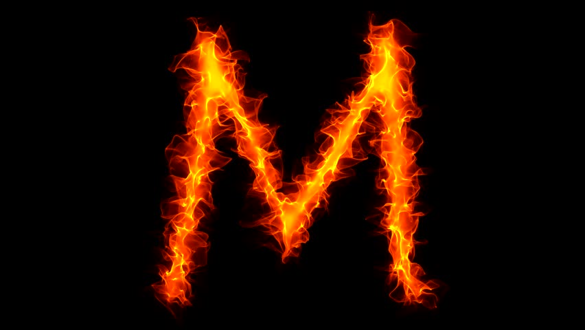Burning Letter M Graffiti Isolated Stock Footage Video (100