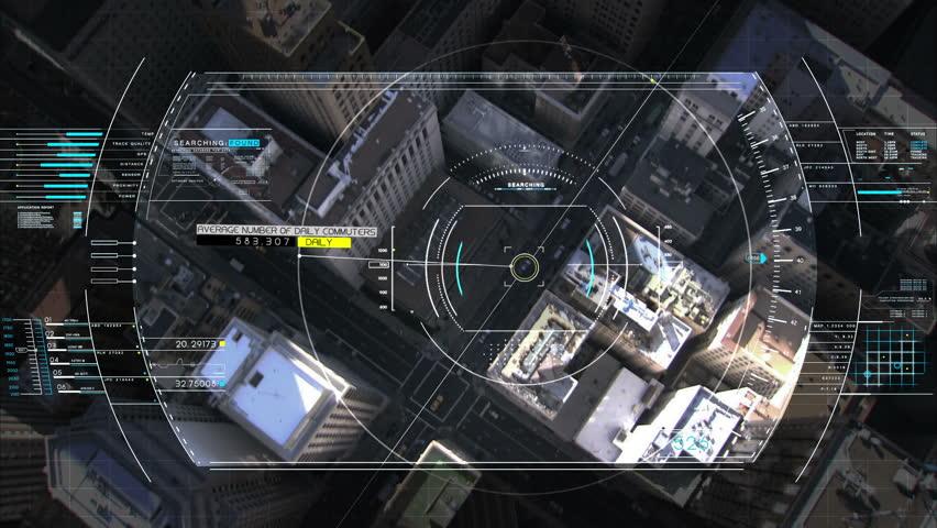 Drone Technology USA spy satellite GPS motion graphics aerial HUD flight city | Shutterstock HD Video #9275621
