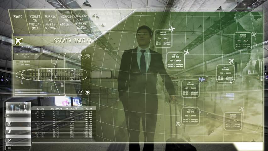 Businessman Asian Travel Airport Terminal technology Touchscreen motion graphics | Shutterstock HD Video #9276962