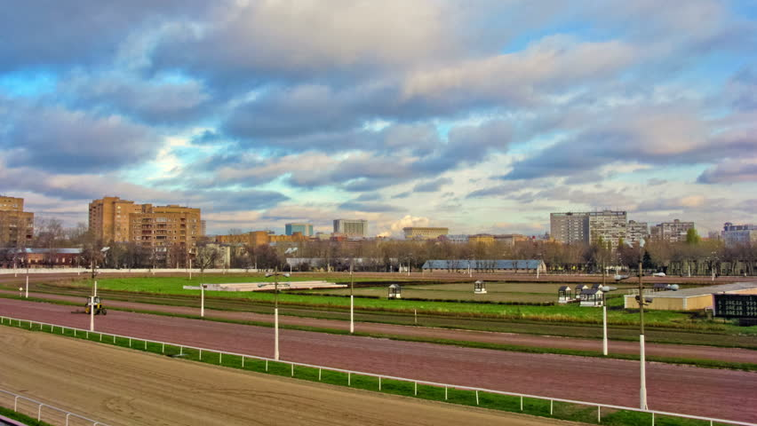 Horse racing at the racetrack. Time lapse.