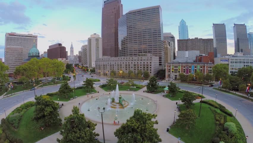 PHILADELPHIA - SEP 02, 2014: Logan Square with Swann Fountain and Cathedral Basilica of Sts. Peter and Paul at autumn evening. Aerial view. Square was built in 1683.