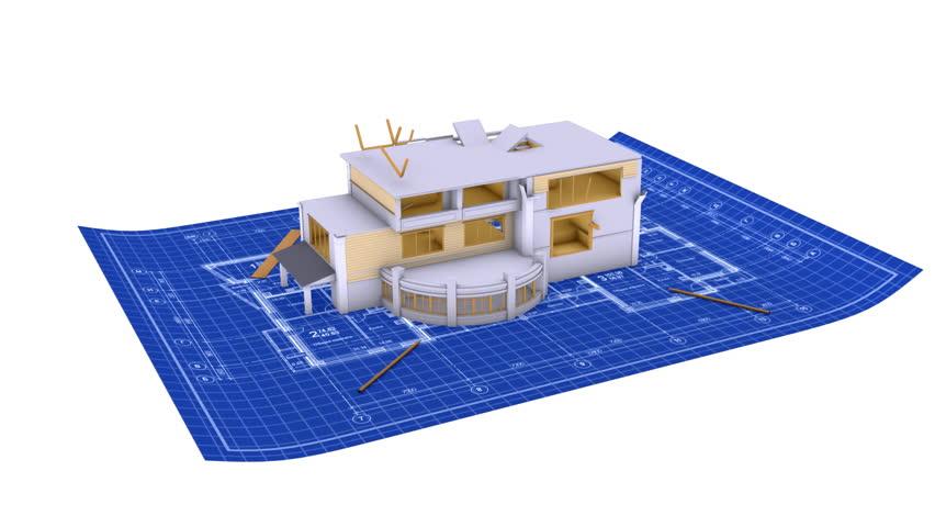 Video de stock de house being built on a blueprint 933511 hd0015luxury house being built on a blueprint paper malvernweather Choice Image