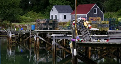Lobster shacks at quite New England fishing village in Maine
