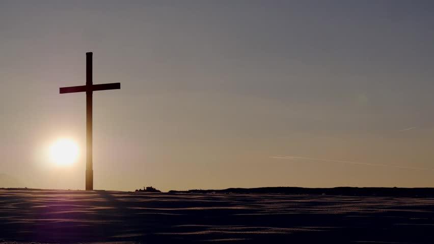 Cross on a hill / sunset / streak in the sky / planes / orange sky / timelapse / religion symbol / lumix gh3  #9398321