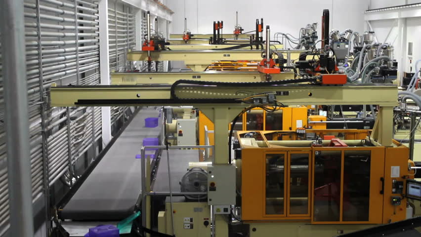 A time lapse of a fully automated robotics factory during production.