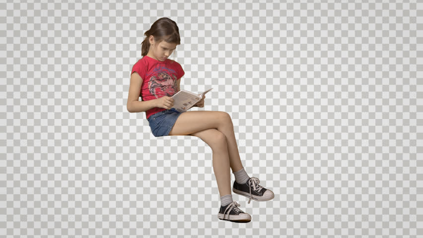 Little girl in red t-shirt sits, reads the book & waits. Side view. Footage with alpha channel. File format - mov. Codec - PNG+Alpha Combine these footage with other people to make crowd effect