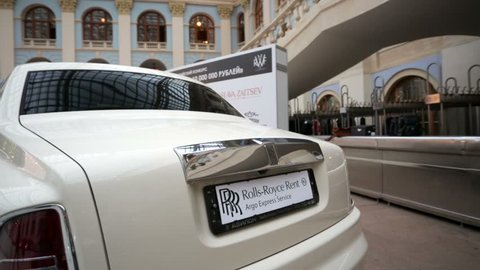 MOSCOW, RUSSIA - MARCH 14, 2015: Luxury Rolls-Royce car presented at the Russian Wedding Fair 2015 in Gostiny Dvor.