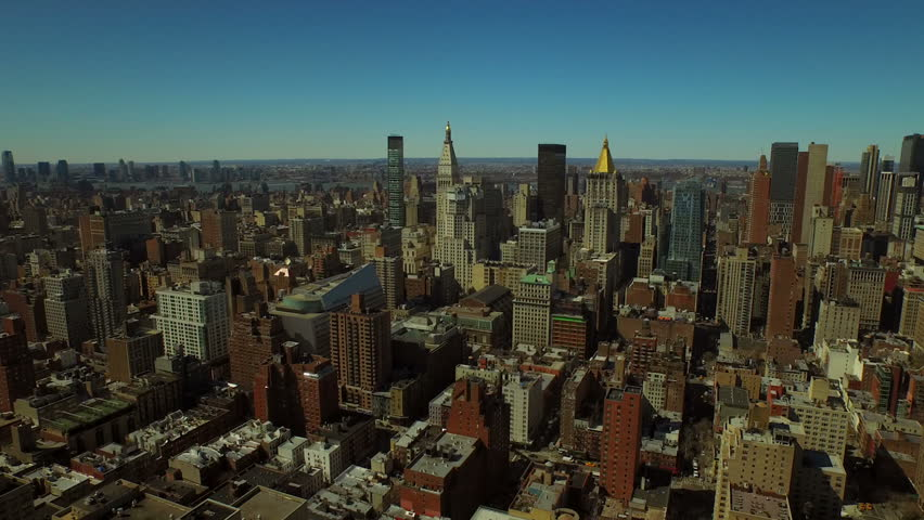 New York City Aerial V58 Flying Backwards Over Kips Bay With Midtown  Manhattan Cityscape View.