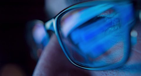 Internet Addiction Reflection Hacker Crime Glasses Browsing Late Night Code Cyber Terrorism Password Hacking Uhd 4K