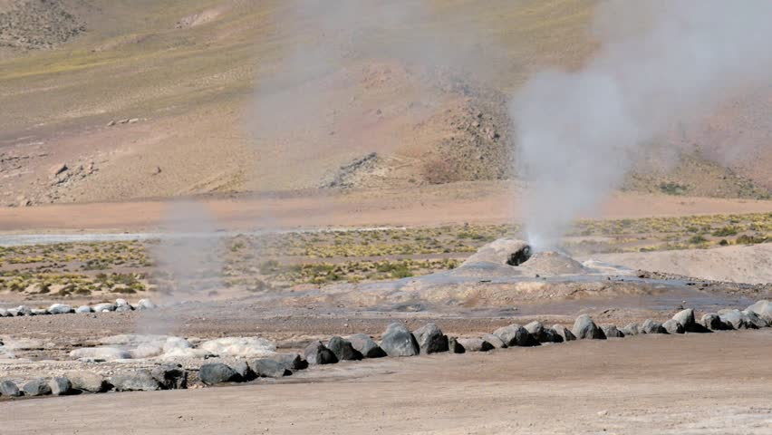 El Tatio Geysers valley in San Pedro de Atacama, Chile. El Tatio geysers located at 4320 meters above sea level are one of the major tourist attraction in Chile. | Shutterstock HD Video #9492461
