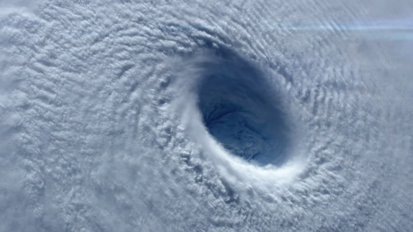 Closeup view of a hurricane / typhoon eye