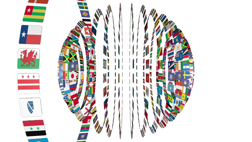 Flags of the World sphere, white