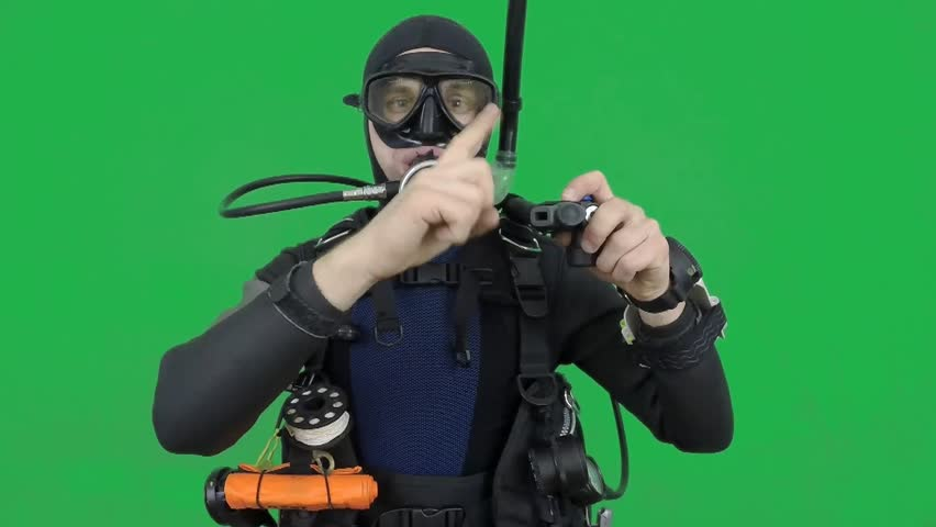 Diving skill- divemaster  shows INFLATOR ,also a available on the green screen all of diving sings from course (open water diver)