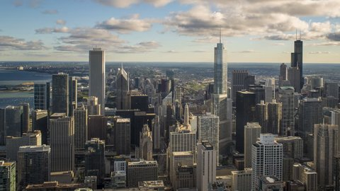 Chicago - CIRCA DECEMBER 2013: High angle view of Chicago skyline and suburbs looking south in the evening