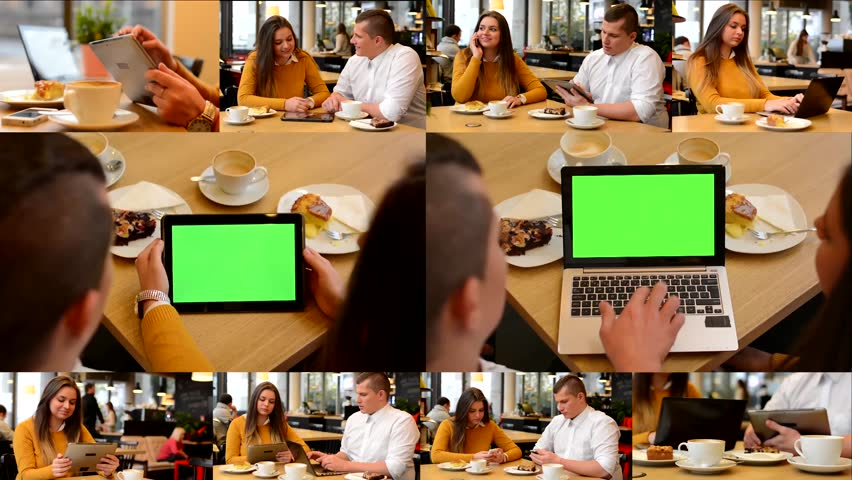 4K MONTAGE (10 VIDEOS) - technology devices green screen - notebook and tablet - happy couple talk in cafe and working on devices  | Shutterstock HD Video #9542861