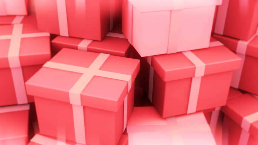 3D rendering of pink boxes with pink bowtie in a pile.