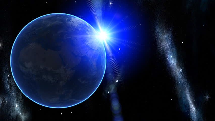 3d Earth Animation 30. Zooming through space over Europe.  With shiny lighting effects, flare, stars, clouds and atmosphere. High quality textures