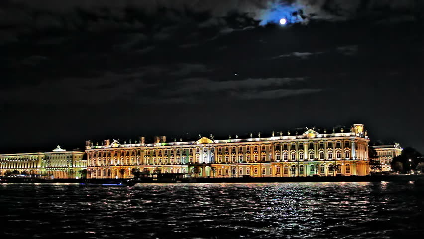 Night, Hermitage Museum, embankment, Moon. st Petersburg, Russia.