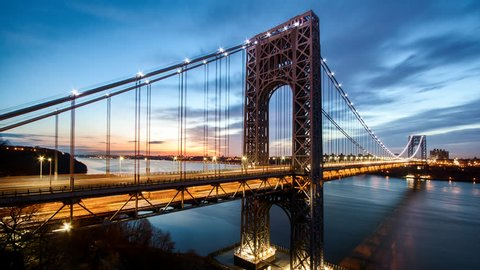 Timelapse with George Washington Bridge traffic crossing Hudson river between New Jersey and New York, at sunrise (for the 4k version, check clip ID 9861593)