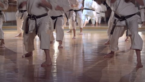 group of people practicing karate kata