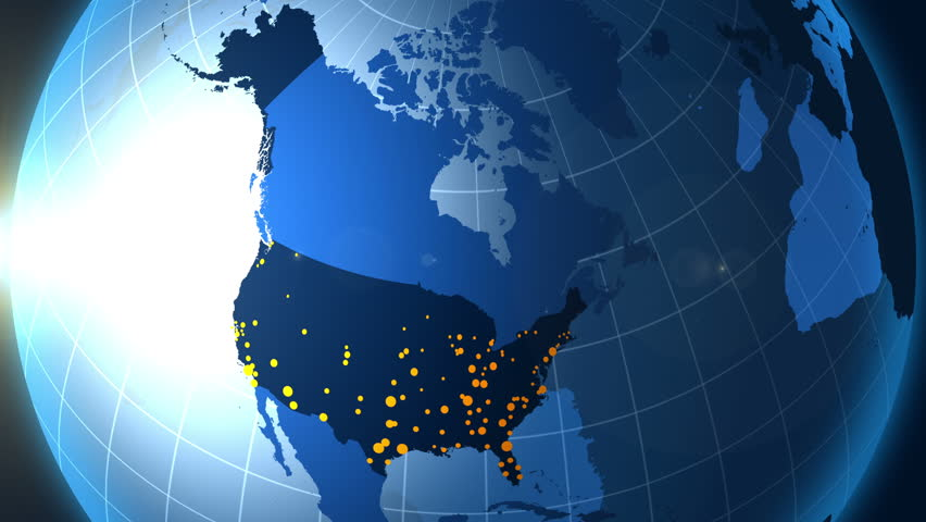 United States Of America And Its Metropolis On The Globe 4k Stock Video Clip