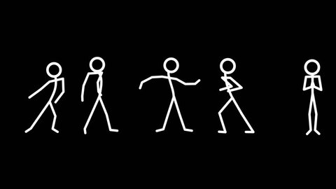Dancing Stickmen. This loop footage of white stick men on black will enhance your productions.