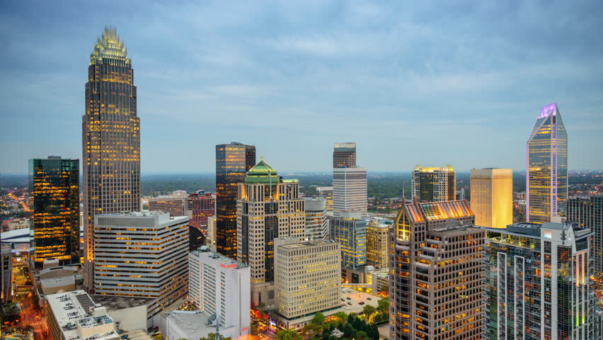 Charlotte, North Carolina, USA cityscape time lapse.