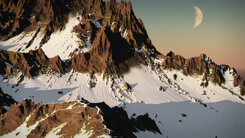 (1243) Wilderness Snow Mountain Peaks Winter Exploration Extreme Adventure Aerial