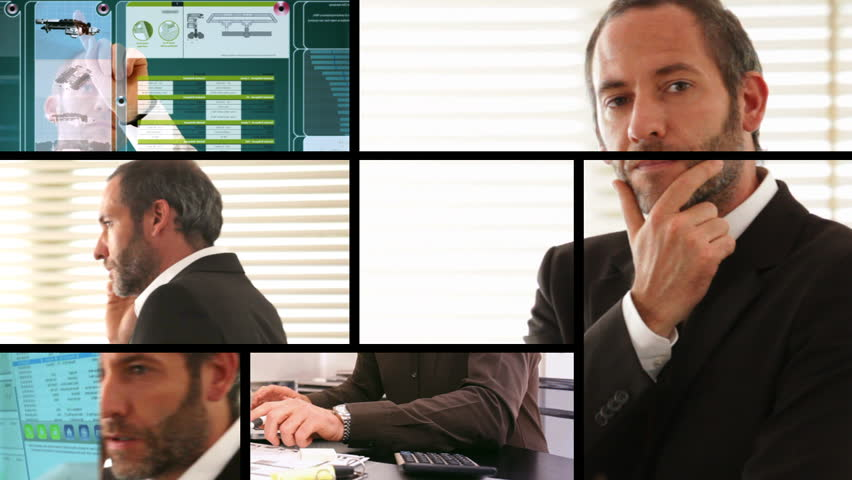 Composition of different business screens with businessman | Shutterstock HD Video #961741