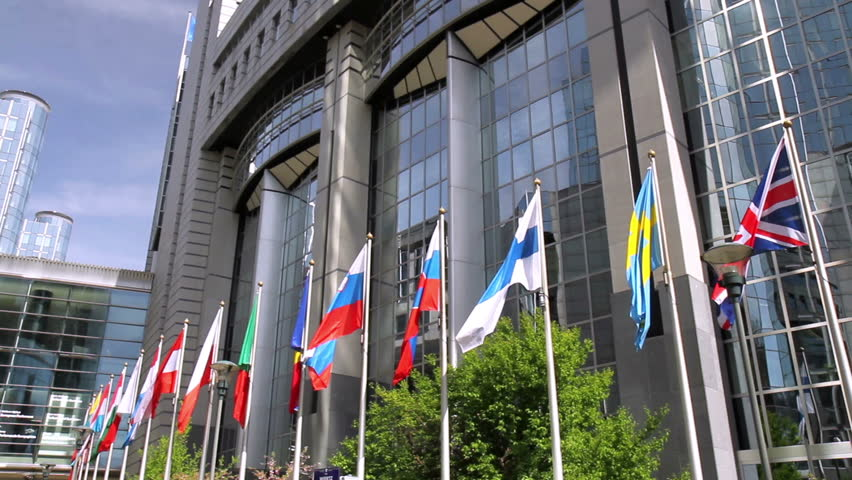 European countries flags waving In the wind In front of European Parliament (Brussels, Belgium). | Shutterstock HD Video #9634418