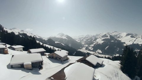 Aerial View - Alpine Chalets in Winter