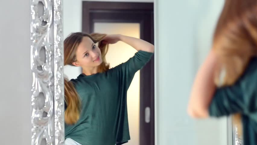 Beauty Teenage Girl With Long Stock Footage Video 100 Royalty Free