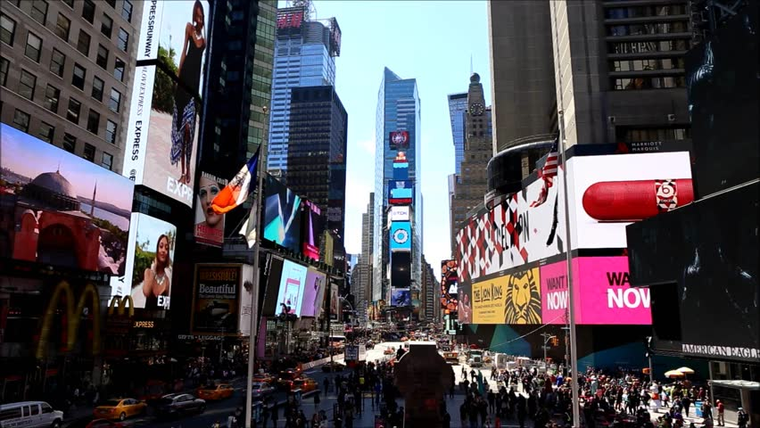NEW YORK - APRIL 25: Times Square with advertising signs, is a symbol of New York City and the United States, April 25, 2015, New York City | Shutterstock HD Video #9728138