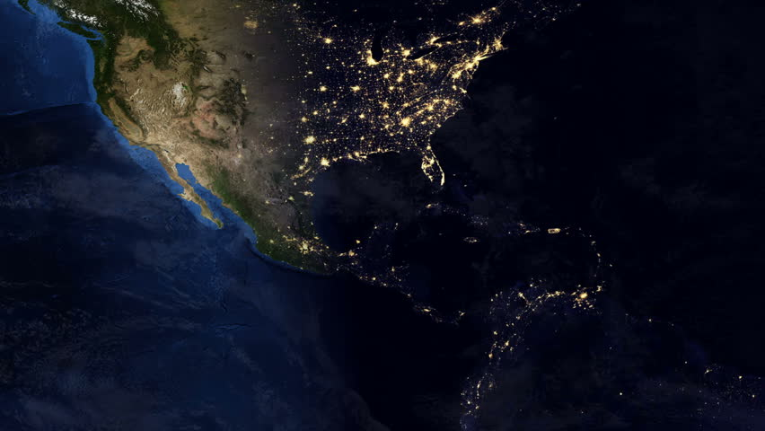 Telecommunication Satellite Over Earth North America Night Space - North america satellite image