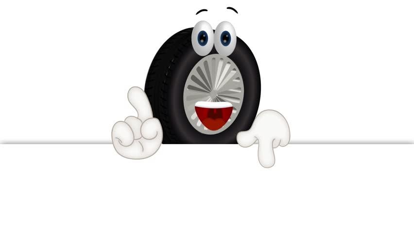 Tire Aspect Ratio >> Funny Tire Cartoon Tire Service Stock Footage Video (100% ...