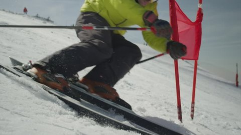 SLOW MOTION: Professional Skier at Giant Slalom Ski training