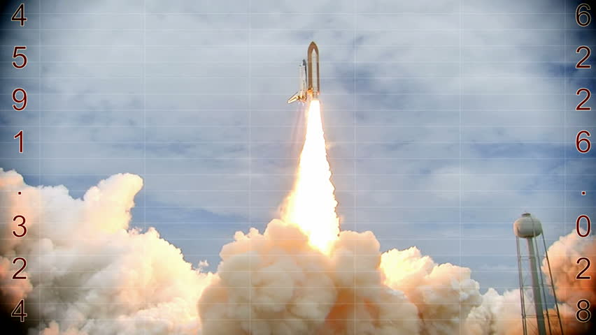 Launching of a rocket into space- countdown, Video clip