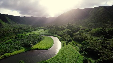 Amazing Lighting Aerial Flight Over Hawaii Rainforest Tropical River Valley