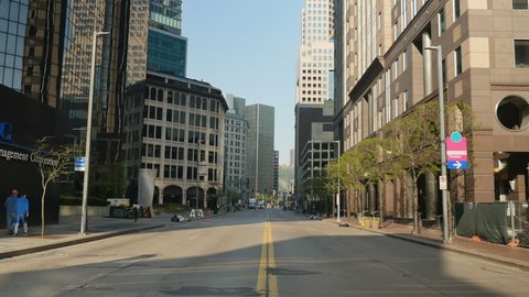 An empty street in downtown Pittsburgh, PA.
