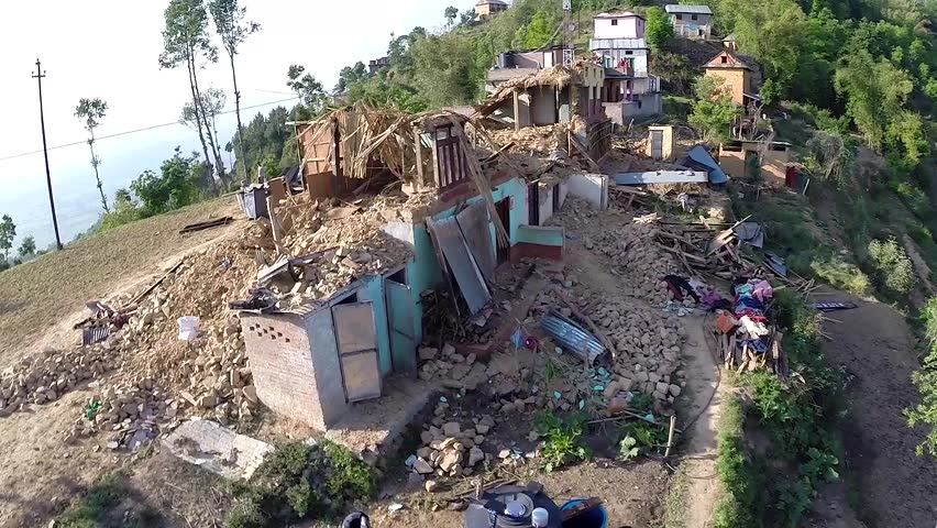 KOT DANDA, LALITPUR, NEPAL - MAY 2, 2015: Drone footage of damaged houses in the village, after a 7.8 earthquake hit Nepal on April 25, 2015.