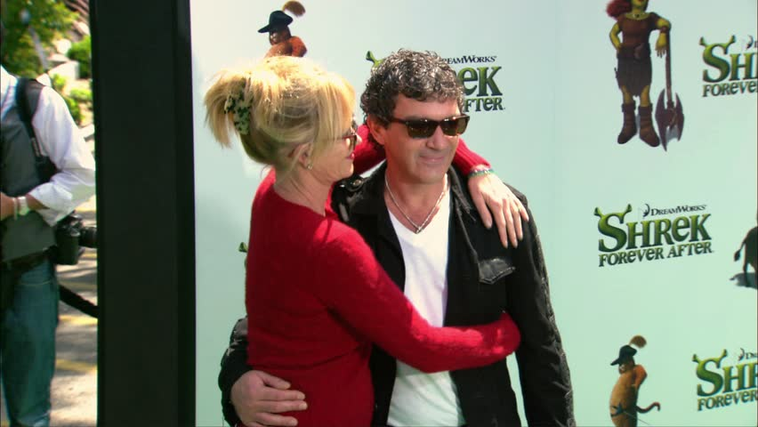Universal City, CA - May 16,2010: Melanie Griffith and Antonio Banderas at Shrek Forever After Premiere, Gibson Amphitheatre