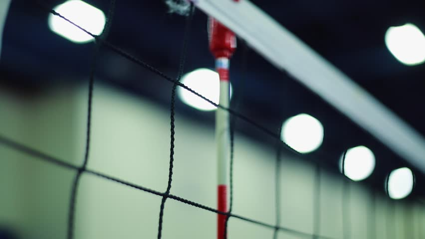 Cool Tilt Down Of Volleyball Net At Indoor Court. At The End Of ...