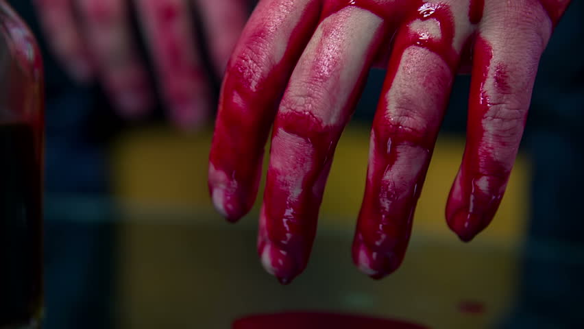 Stock Video Clip of Blood dripping from hands . Man home | Shutterstock