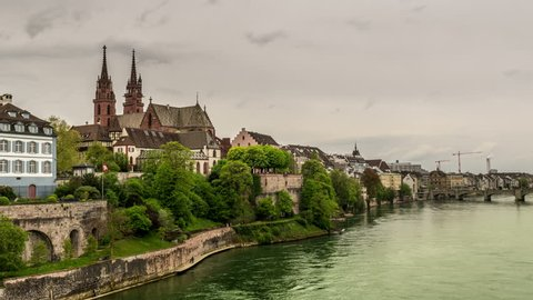 Timelapse of cathedral in basel viewed from the Rhein, Switserland
